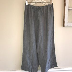 Eileen Fisher Gray, Linen, cropped, elastic waist